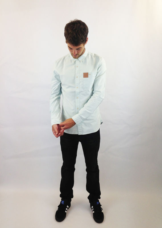 Ice blue shirt made with Oxford cotton by Vapour.