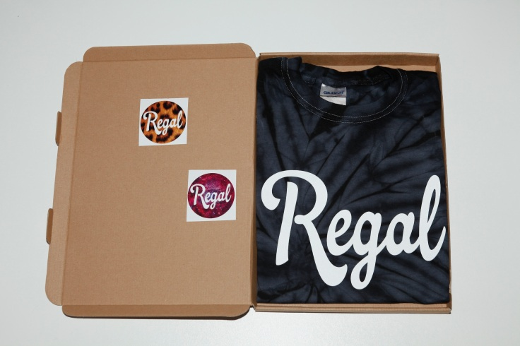 Boxed Black Hole Tee by Regal Apparel with free stickers