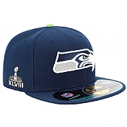 Seattle Seahawks navy blue New Era Fitted cap