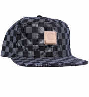 Crooks and Castles checkmate snapback cap with grey and black square pattern and tan leather patch with crooks logo on front centre