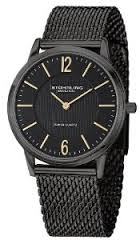 Stuhrling Original Classic Somerset Elite Men's Quartz Watch with Black Dial Analogue Display and Black Stainless Steel Plated Bracelet