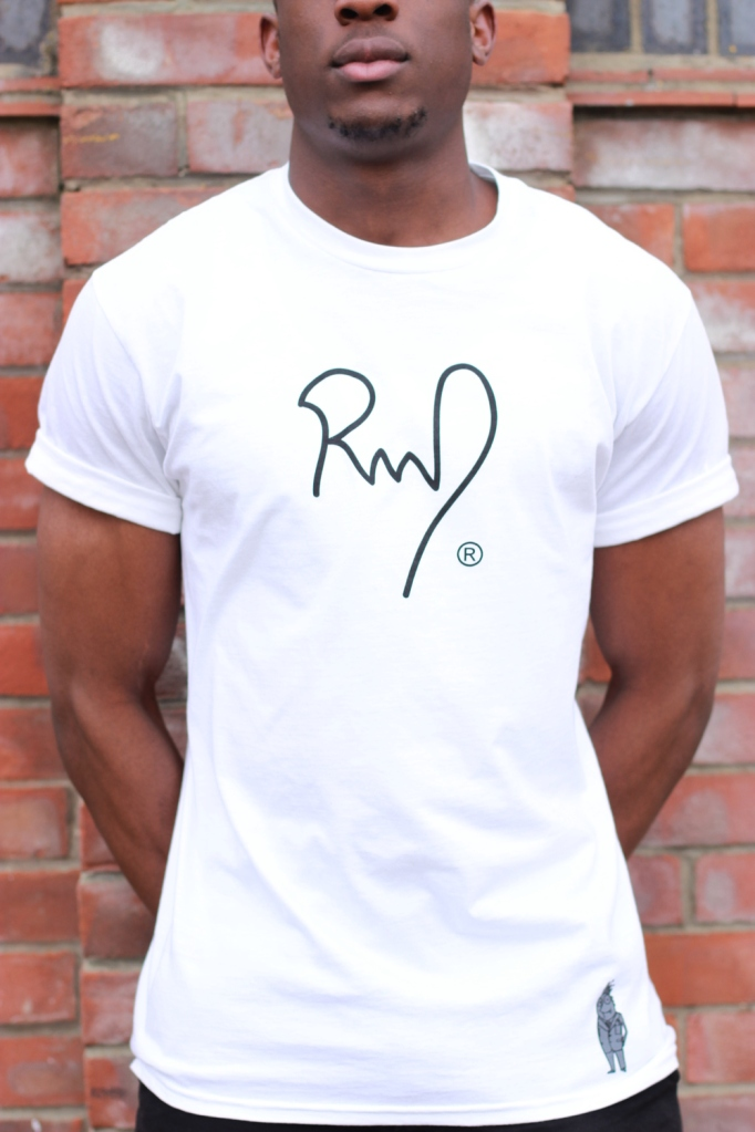 Heavie Dutie showcases RMD white with black text tee