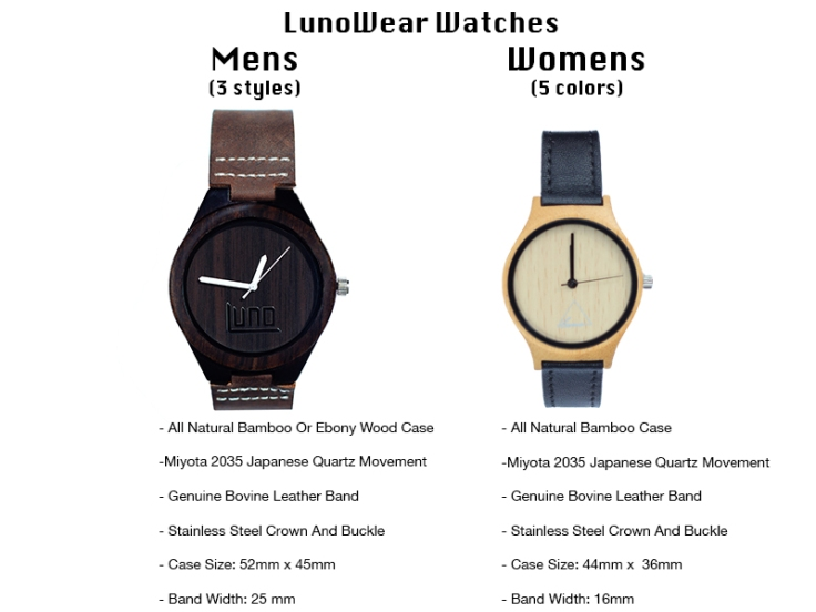 LunoWear watches spec list