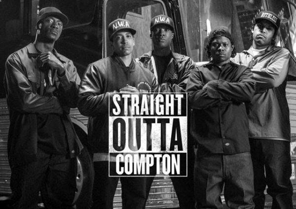 Straight Outta Compton film poster with NWA members on and logo across the middle linking to The Idle Man Straight Outta Compton edit